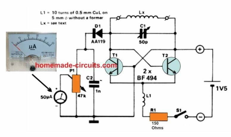 simple grid dip meter circuit
