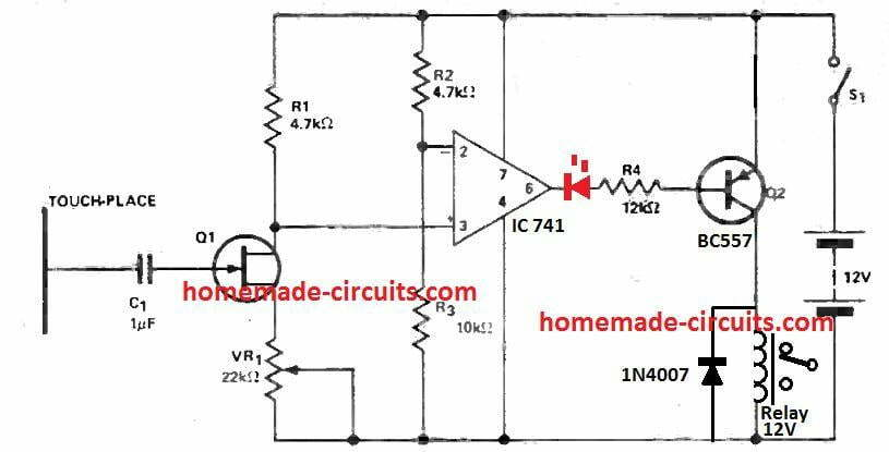 IC 741 capacitive touch sensor circuit proximity detector