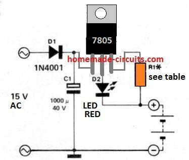 7805 NiCd battery charger circuit