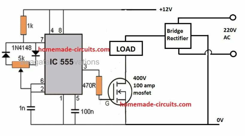 mosfet pwm kiln temperature controller circuit