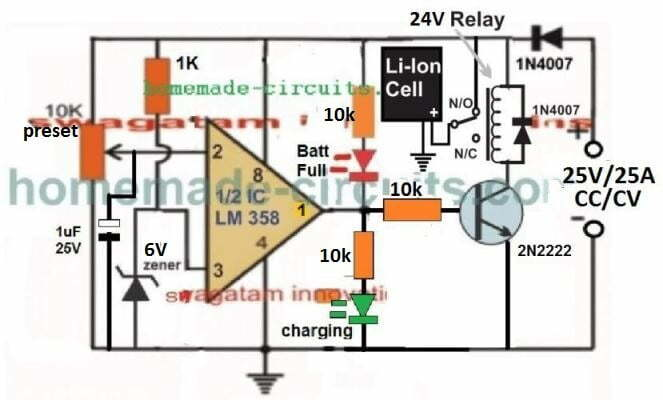 25 amp li-ion battery charger cut off circuit