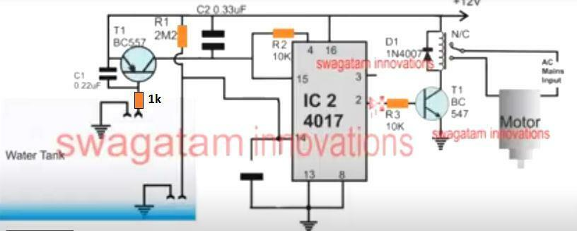 4017 automatic water level controller circuit