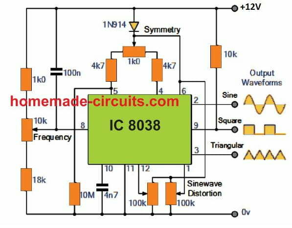 Function Generator Circuit using IC 8038