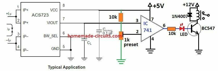 hall efect current sensor circuit with relay shut down