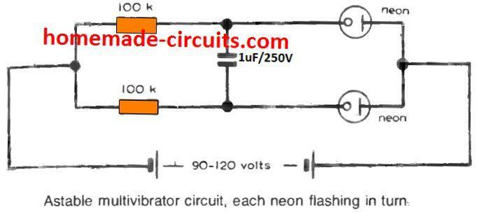 Astable multivibrator circuit, each neon flashing alternately
