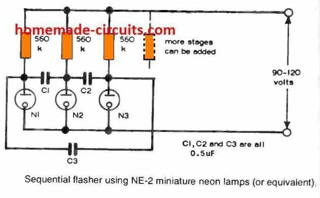 Sequential flasher using NE -2 miniature neon lamps