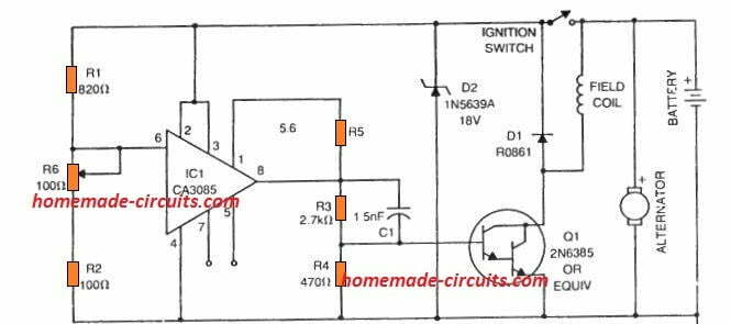 simplest car alternator voltage current regulator circuit