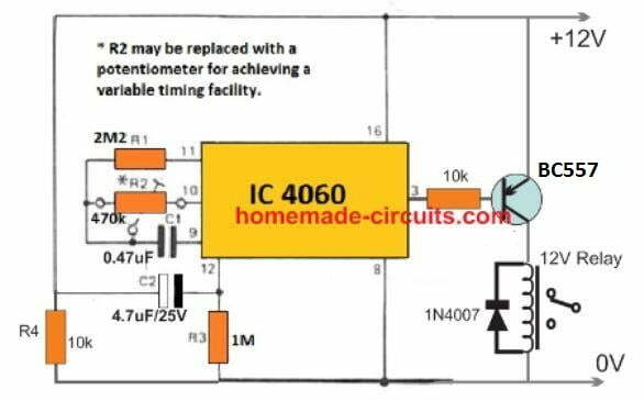 delay ON with delay OFF timer using IC 4060