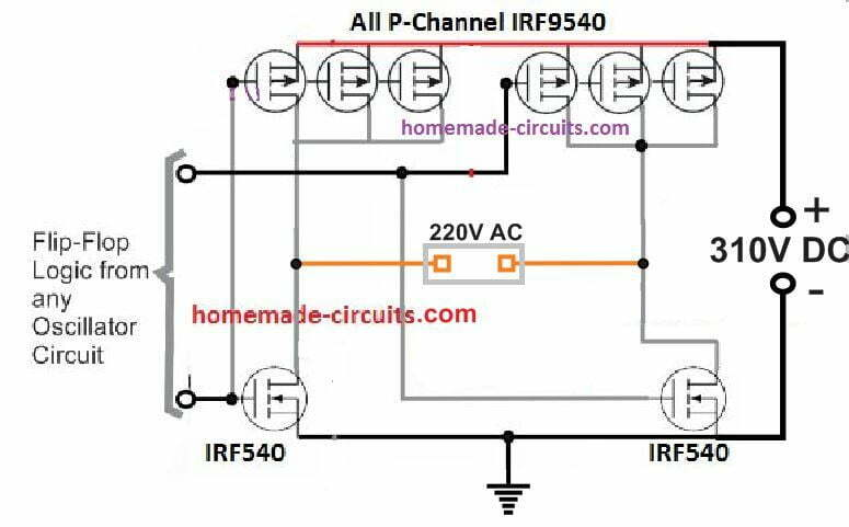 P channel mosfet full bridge with Arduino inverter
