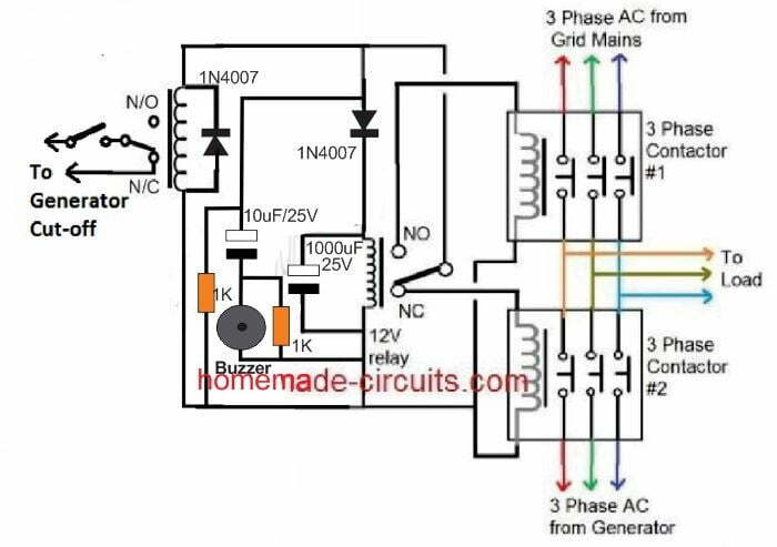 grid mains to generator changeover relay circuit  homemade