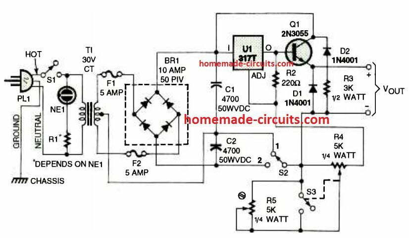 How To Use Lm317 For Making A Variable Power Supply Circuit Homemade Circuit Projects