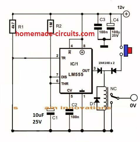 IC 555 timer with auto power shut off