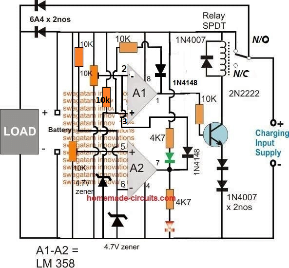 op amp relay battery cut off circuit