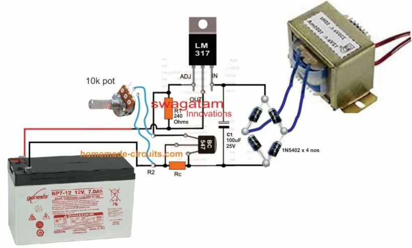 Best 12 V 7 Ah battery charger circuit using LM317 IC with regulated voltage and current controlled output