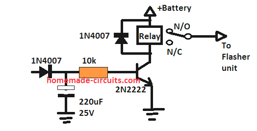 delay OFF timer circuit truck flasher