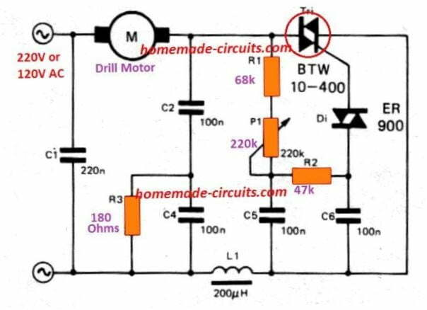 Closed Loop AC Motor Speed Controller using Back EMF   Homemade Circuit  ProjectsHomemade Circuit Projects