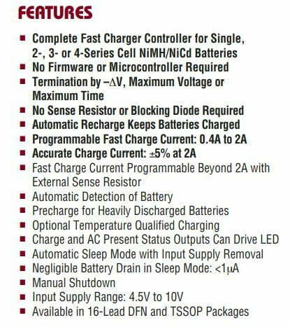 main features of the IC LTC4060 fast charger Li-ion battery
