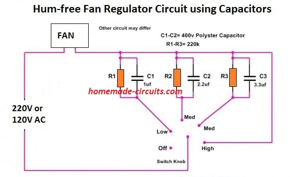 hum less or hum free fan regulator circuit using capacitors