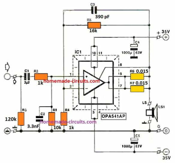 OPA541 150 watt High Power Amplifier Circuit