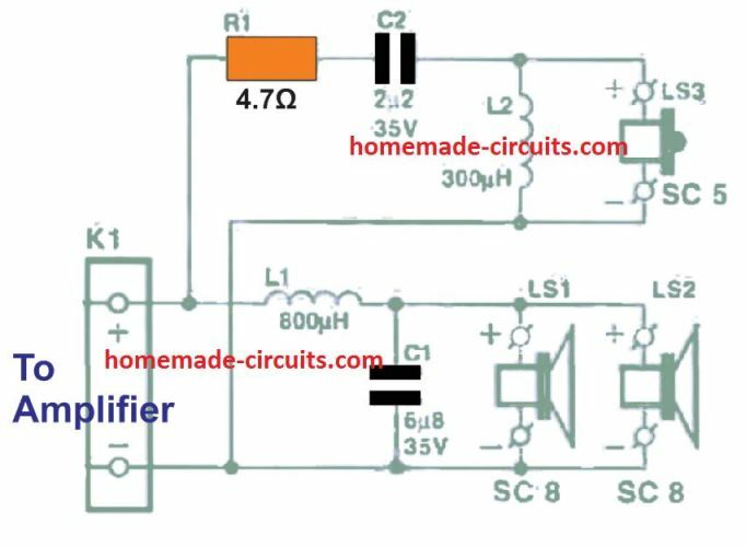 Surround sound center speaker cross over network circuit diagram