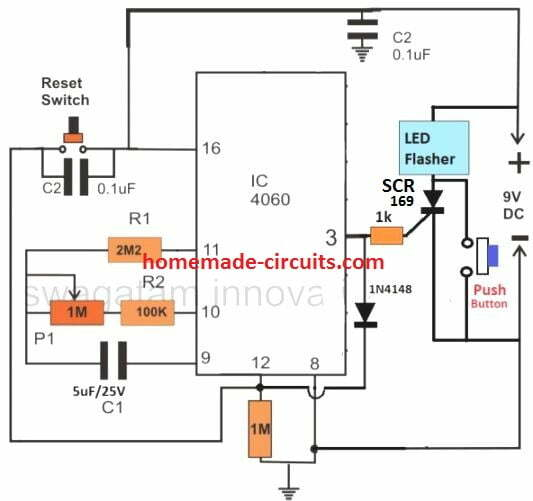 24 hour 4060 timer circuit with LED flasher indicator