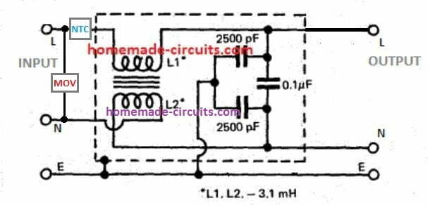 RFI line filter circuit with surge suppression