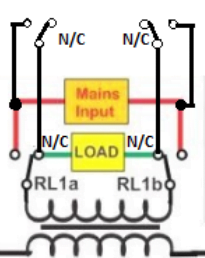 grid AC battery charger through DPDT relays