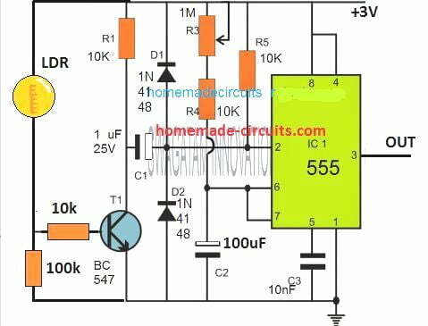 LDR controlled monostable one shot timer circuit