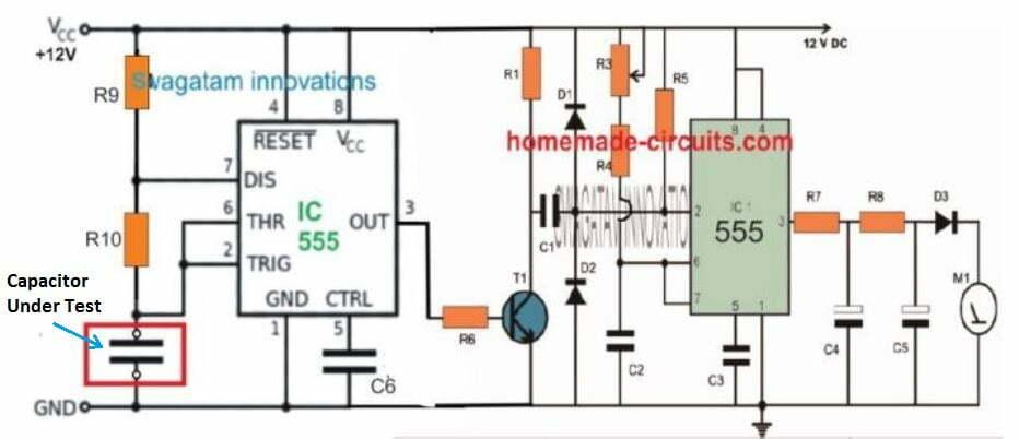 simple IC 555 based capacitance meter circuit