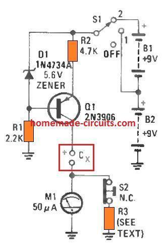 very simple capacitor leakage detector meter circuit