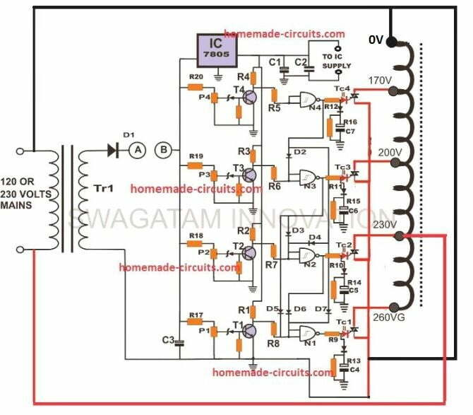 SCR/Triac Controlled Automatic Voltage Stabilizer Circuit
