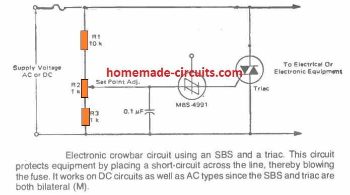 AC Dc crowbar using triac and fuse
