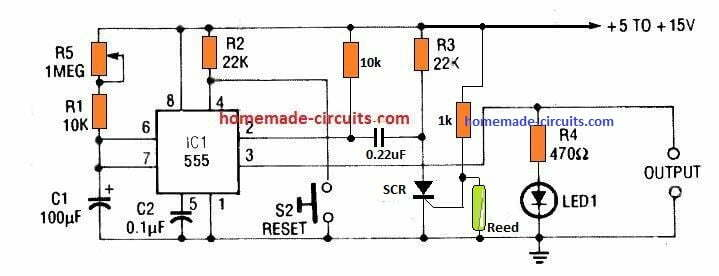 IC 555 monostable trigger with an SCR and reed relay