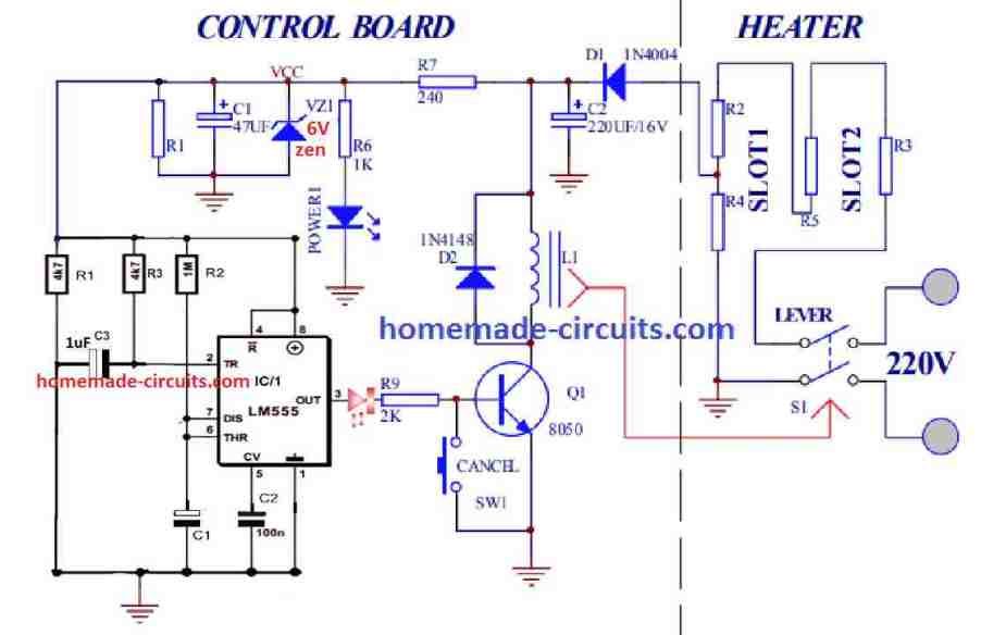 IC 555 toaster circuit diagram