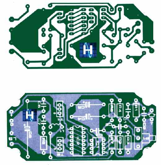 The PWM amplifier's PCB and part layout.