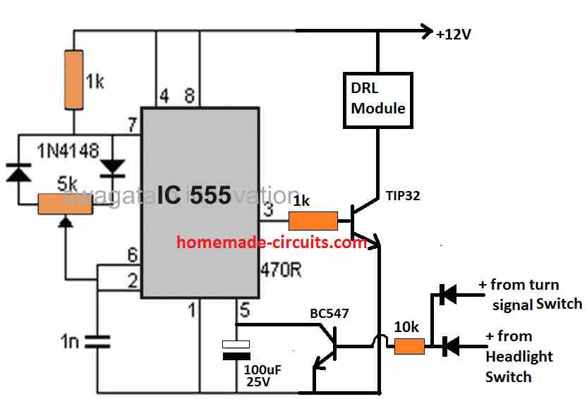 PWM dimmer with DRL