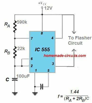 555 astable for bilnking indicator
