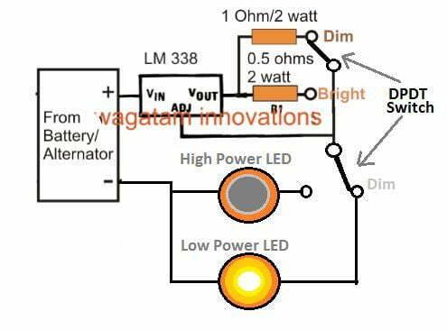 dimmer dipper COB LED using LM338