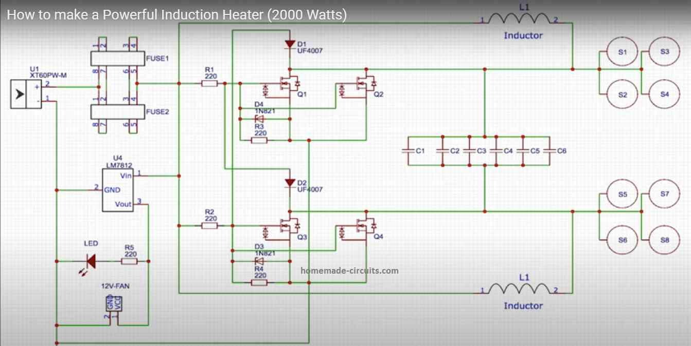 2000 watt induction heater circuit diagram