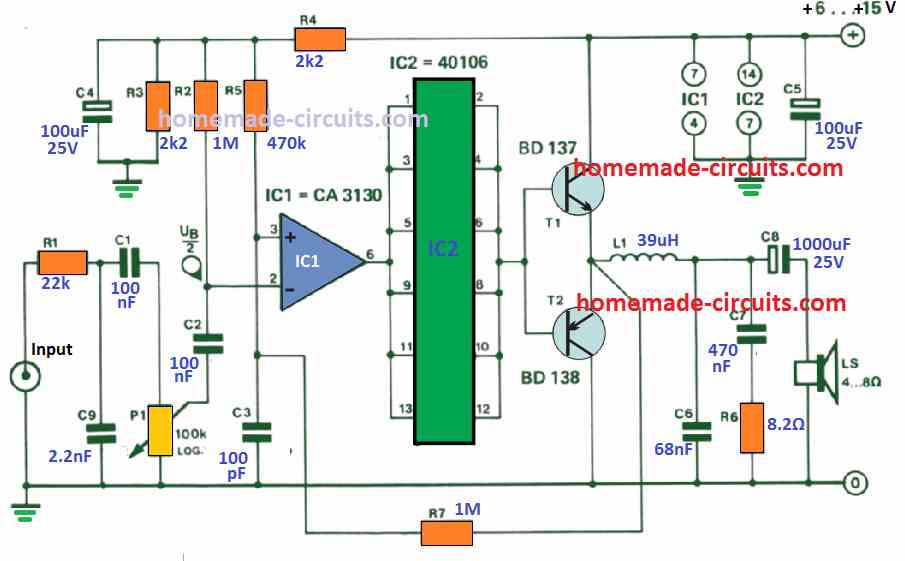 With just 12 V, the self-oscillating PWM amplifier will deliver 3 W into 4 ohms.