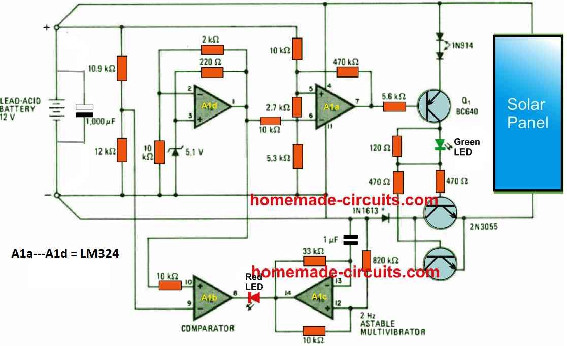 solar voltage regulator using IC LM324
