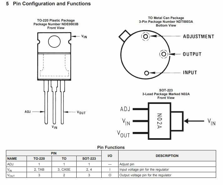 LM337 pinout details and working