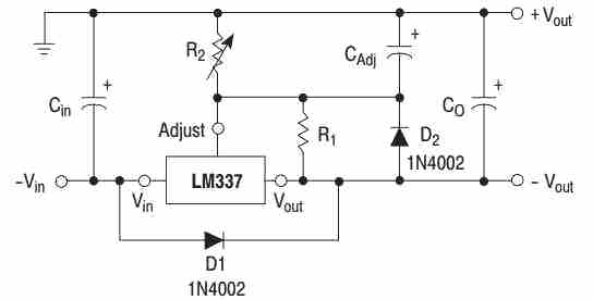 LM337 application circuit showing how to use protection diodes