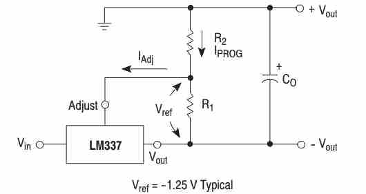 Basic LM337 application circuit for fixing the programmable resistor values