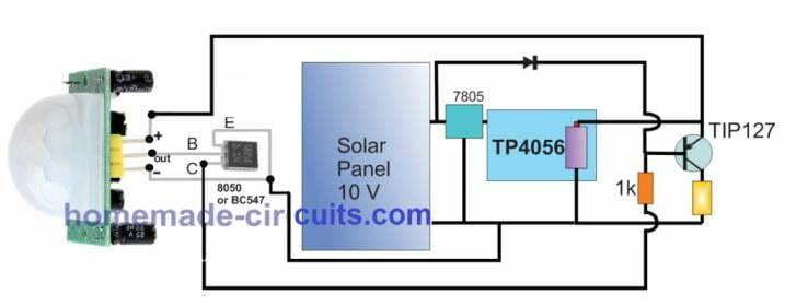 solar pir sensor auto on/off 5w led light using tp4056