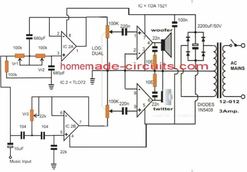 How to Make Active Loudspeaker Circuit   Homemade Circuit Projects   Speaker Schematic      Homemade Circuit Projects