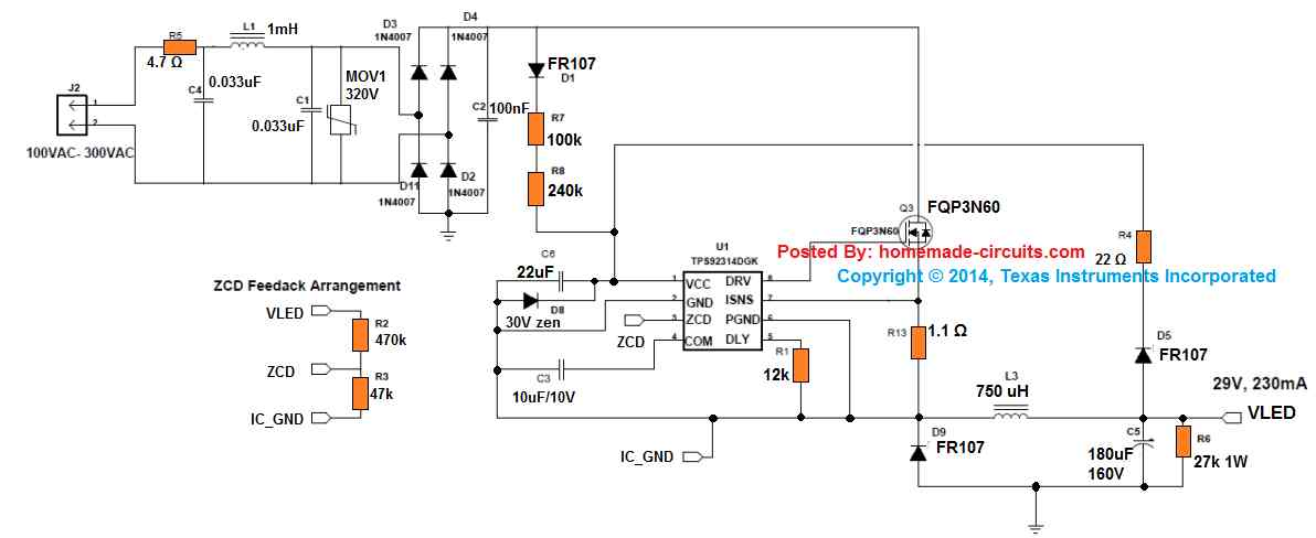 7 watt compact SMPS non-isolated driver circuit, 220V AC input, 29V 230 mA output, using IC TPS92314A