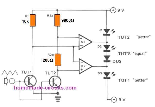 transistor pair tetser, gain matching circuit