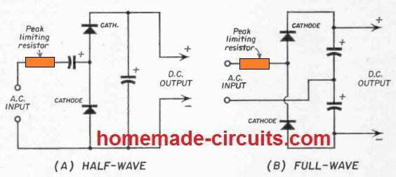 half wave full wave volatge doublers circuits