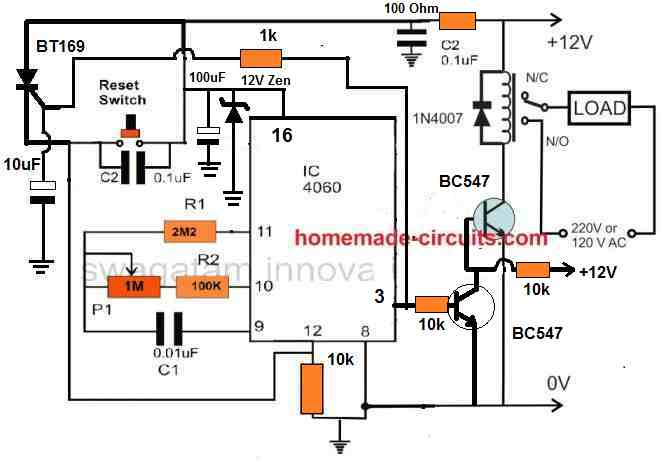 IC 4060 timer circuit for pump control